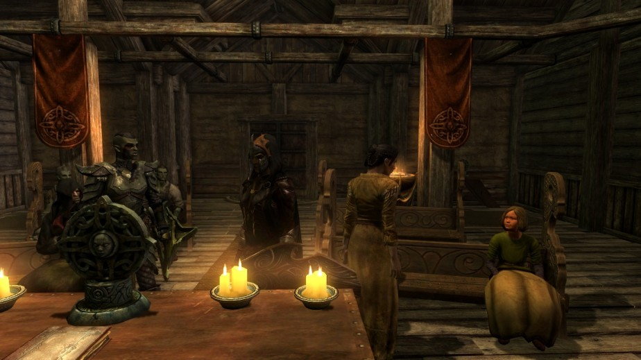 Luthien and Boghta taking their wedding vows. Their daughter Lucia sitting in the right bench. Luthien rescued Lucia from the streets of Whiterun.