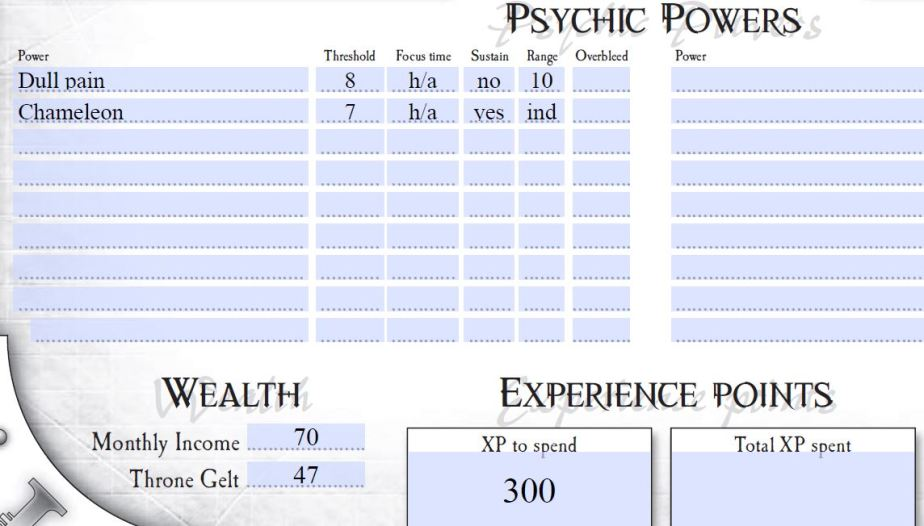 ALL of the psychic powers...didn't have to use them once as of yet...