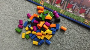 Colours tokens - used to mark your stations, and your score.